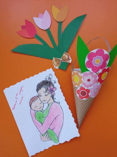 """Сръчните детски ръце на децата от група """"Буратино"""" , са изработили красиви картички, с които да зарадват свойте майки и баби за празника - Изображение 5"""