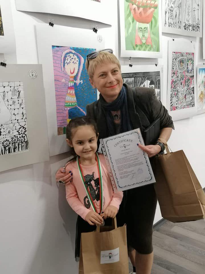 """Сребърен медал за Дария Стефанова от ДГ"""" Слънце"""" град Търговище - голяма снимка"""